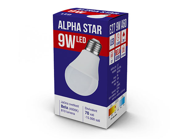 Alpha Star (E27 9W NB) Led Sijalica, E27 -9W, 220V, Bela, 4000K