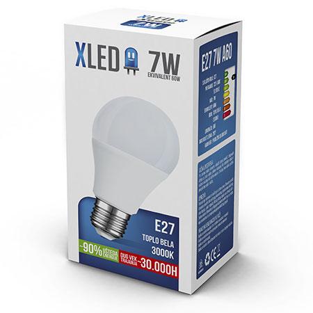 XLED (E27 7W) Led Sijalica, E27 - 7W, 220V, Toplo Bela, 3000K