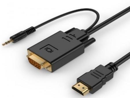 A-HDMI-VGA-03-6 Gembird HDMI to VGA and audio adapter cable, single port, 1,8m, black