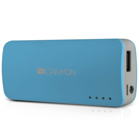 CANYON CNE-CPB44BL Blue color portable battery charger with 4400mAh, micro USB input 5V1A and USB output 5V1A(max.) (CNE-CPB44BL)