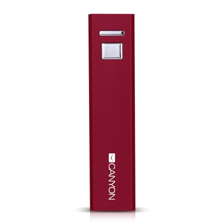 CANYON CNE-CSPB26R Aluminium compact battery charger.  Color: red, Capacity: 2600mAh, Output: DC5V 1A, Input: DC5V 1A Output Charging: 1.5-