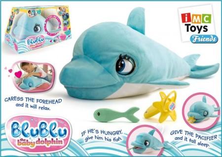 Prekrasna plišana beba Delfin Blu Blu. Interaktivna. Dužina cca 60 cm. Potrebne 4 baterije LR6 (AA) koje su uključene u pakovanje. Uzrast 1