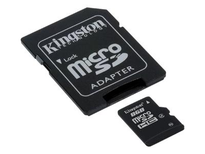 Kingston microSDHC 8GB Class 4 + SD Adapter - SDC4/8GB