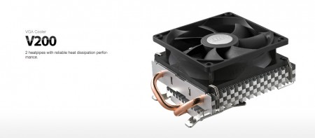DeepCool V200 VGA cooler with 43535580mm mounting holes 92mm.Fan 1800rpm 29CFM 25dBa 2xpipes