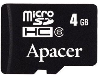 APACER MicroSDHC 4GB class 4 + adapter AP4GMCSH4-R