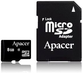 APACER MicroSDHC 8GB class 4 + adapter AP8GMCSH4-R