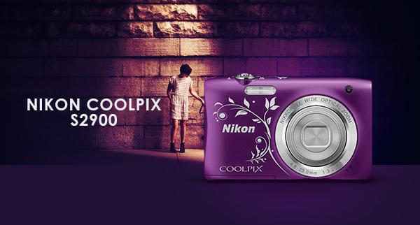 NIKON COOLPIX S2900 Ljubičasti lineart + 8GB kartica